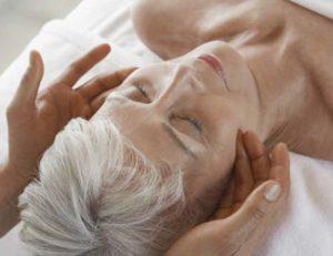 Mother enjoying facial treatment